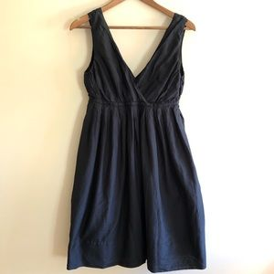 GAP Black V Neck Babydoll Knee Length Dress